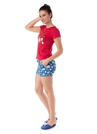 Pamuk & Pamuk Yıldız Desen Kadın Şortlu Pijama Takım Renkli